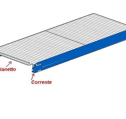 Ripiano completo con correnti BLU lunghezza 90 x Profondità 80 cm per scaffalature metalliche ...